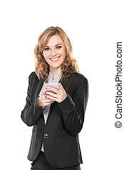 Business woman use communicator, write send message and smiling,
