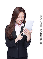 Business woman use tablet pc