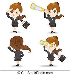 Business woman use telescope - Cartoon set of business woman...