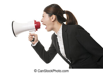 Business Woman Using a Megaphone - Businesswoman Using a ...