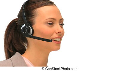 Business woman using an headset against a white background