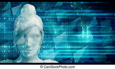 Business Woman Using Digital Solutions Technology Concept...