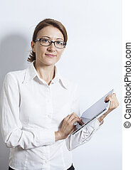 Business woman using digital tablet computer