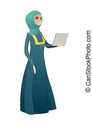 Business woman using laptop vector illustration.