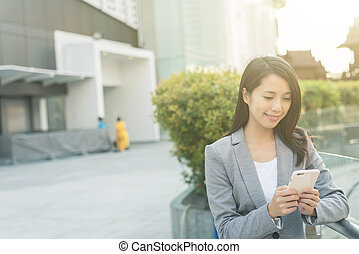 business woman using smartphone