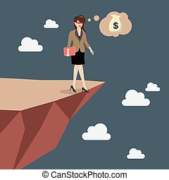 Business woman walk straight into the abyss. Vector...
