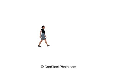 Business woman walking against white