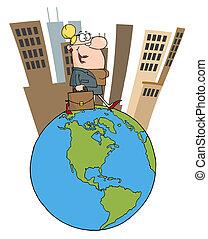 Business Woman Walking Around Globe
