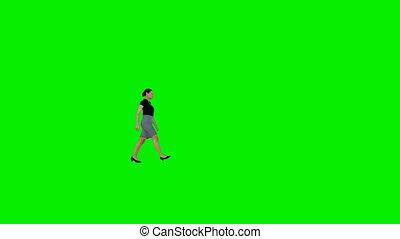 Business woman walking, Green Screen