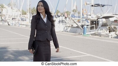 Business Woman Walking On The The Pier - Business woman...