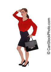 Business woman walking with black purse