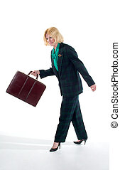 Business Woman Walking with Briefcase