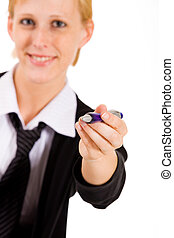 Business woman wants to write it - Business woman with a ...
