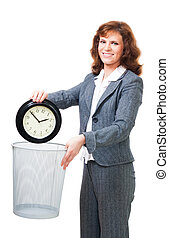 Business woman waste time