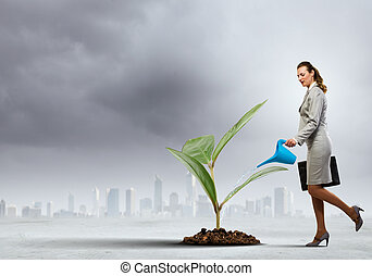 Business woman watering sprout