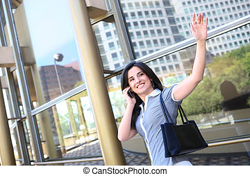 Business Woman Waving Goodbye