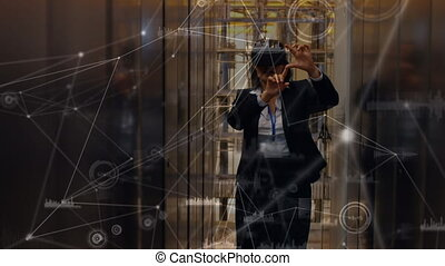 Business woman wearing a virtual reality headset
