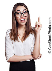 business woman wearing glasses pointing up isolated on white