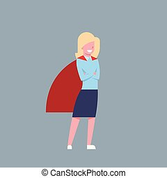 Business Woman Wearing Red Hero Cape Businesswoman Isolated