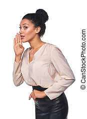 Surprised mixed race caucasian - african american business woman whispering gossip, over white background