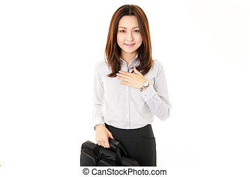 Business woman with a bag.
