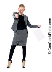 Business woman with a blank sheet of paper.