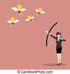 Business woman with a bow and arrow hitting the light bulb fly
