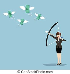 Business woman with a bow and arrow hitting the money fly