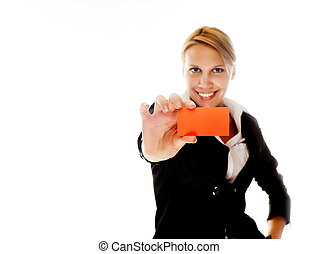 business woman with a business card on a white isolated background