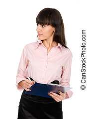Business woman with a clipboard looking away