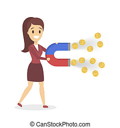 Business woman with a huge magnet attracting money