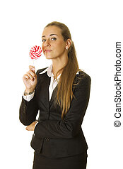Business woman with a lollipop