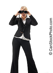 business woman with a looking glas