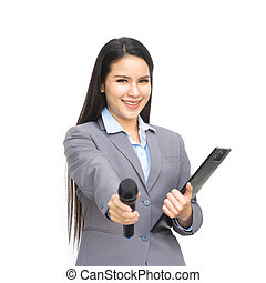 Business woman with a microphone in hand isolated on white background.