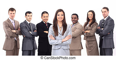 business woman with a multi-ethnic business team