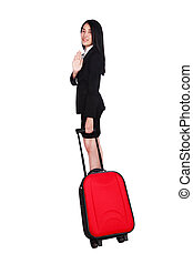 business woman with a suitcase isolated on white background