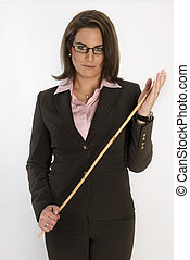 Business woman with a whip in her hands.