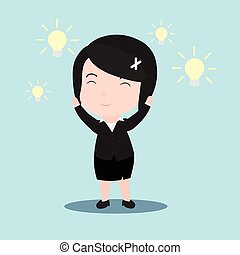 Business woman with an idea, with the light bulb