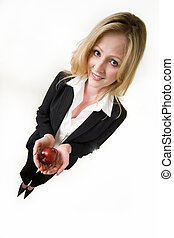 Business woman with apple