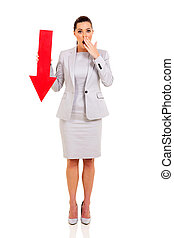 business woman with arrow pointing down