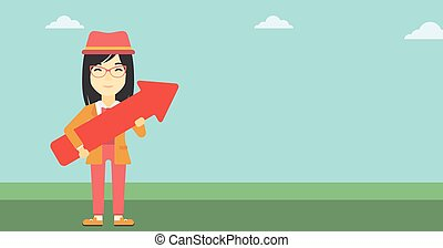 Business woman with arrow up vector illustration.