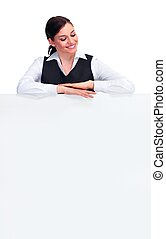 Business woman with banner - Young Business woman with...