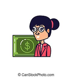 business woman with bill dollar
