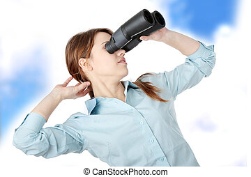 Business woman with binocular