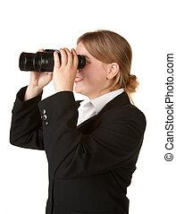 business woman with binoculars