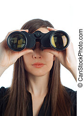Business woman with binoculars