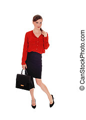 Business woman with black purse.