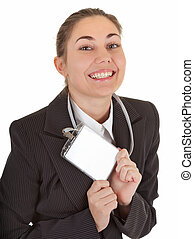 business woman with blank badge
