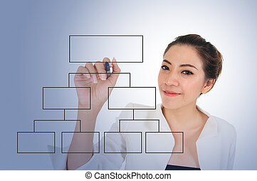Business woman with blank diagram