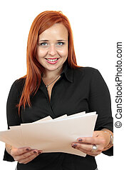 Business woman with blank paper